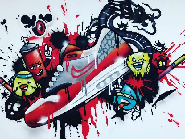 Schildering de Rode Sneakerz